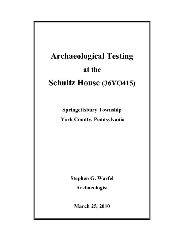 Schultz House Final Report.pdf